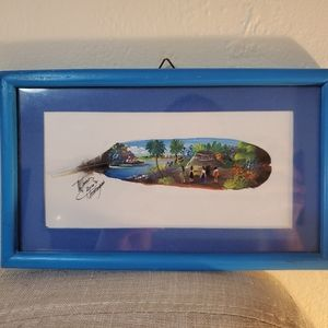 Signed Framed Feather Wall Art